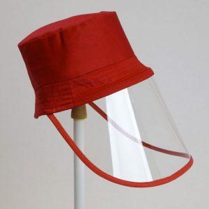 Palarie cu vizor de protectie culoare rosie