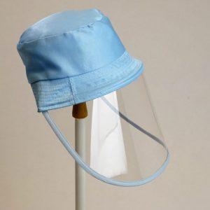 Palarie cu vizor de protectie culoare albastru deschis